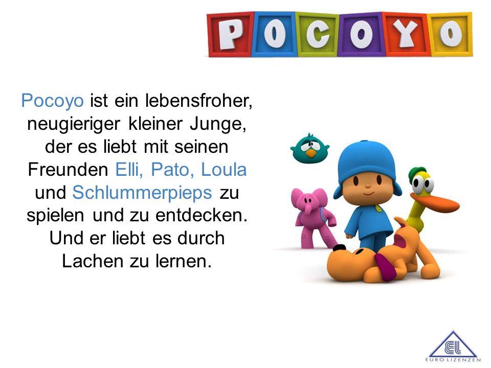 a Pocoyo ist ein lebensfroher, neugieriger kleiner Junge, der es liebt mit seinen Freunden Elli, Pato, Loula und Schlummerpieps zu spielen und zu entd