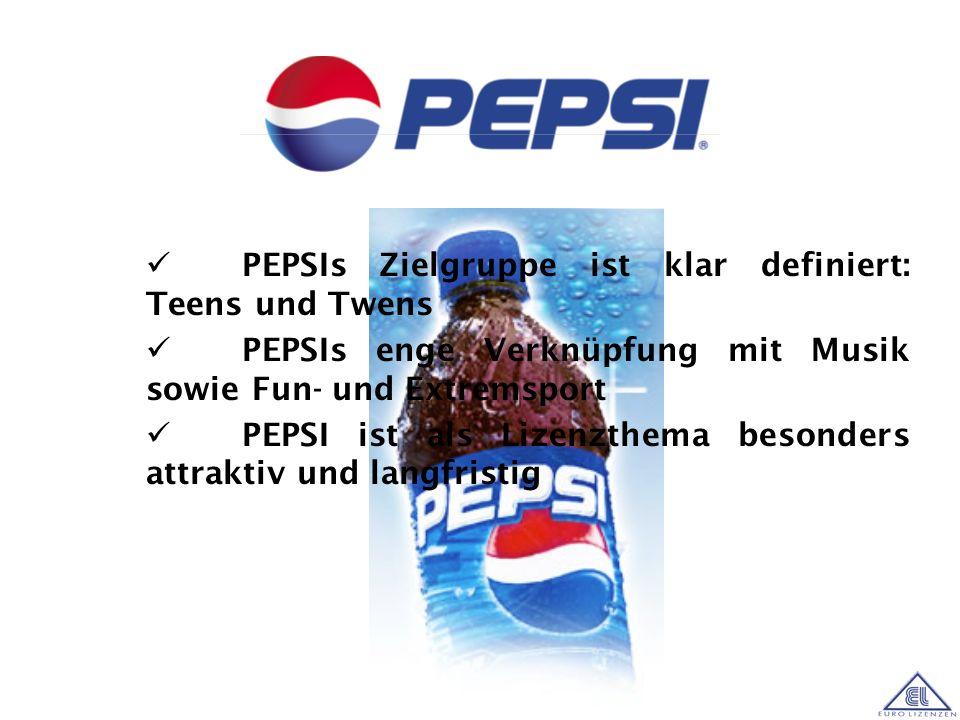 Einer der weltweit bekanntesten Brands Repräsentiert den Lifestyle und die Dynamik der heutigen Jugend Das Logo bietet eine moderne, junge Optik PEPSI