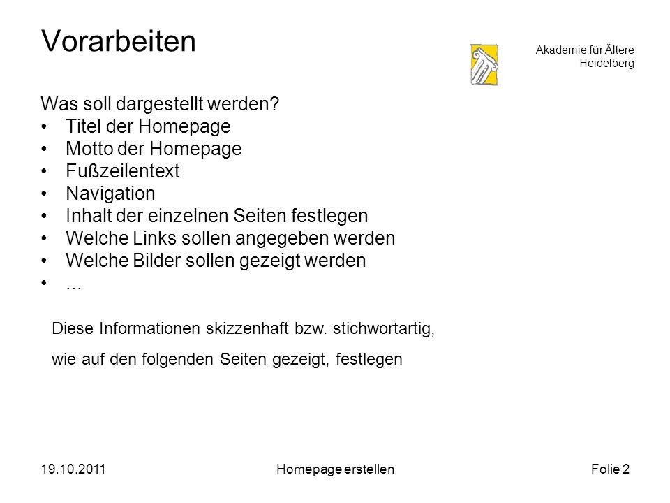 Akademie für Ältere Heidelberg 19.10.2011Homepage erstellenFolie 3 Entwurf der Navigation Startseite Kernobst Äpfel Birnen Gemüse Salat Lauch Kontakt Interessante Links