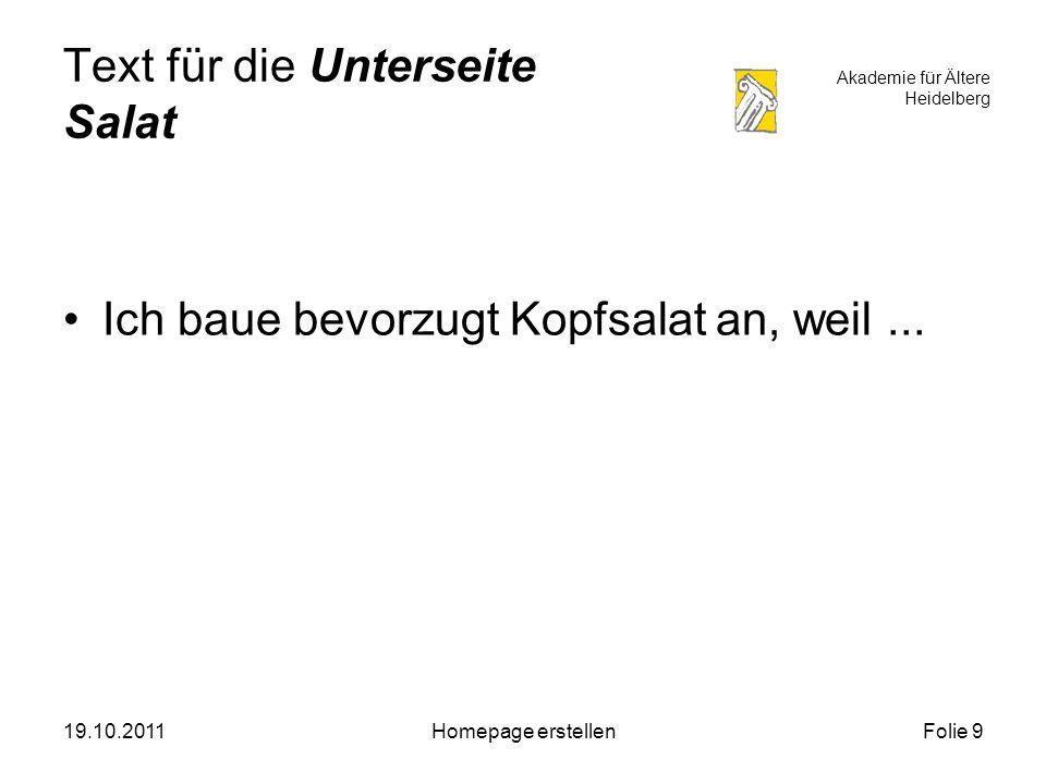 Akademie für Ältere Heidelberg 19.10.2011Homepage erstellenFolie 10 Text für die Unterseite Lauch Der Lauch ist ein besonders schmackhaftes Gemüse und sehr gesund.....