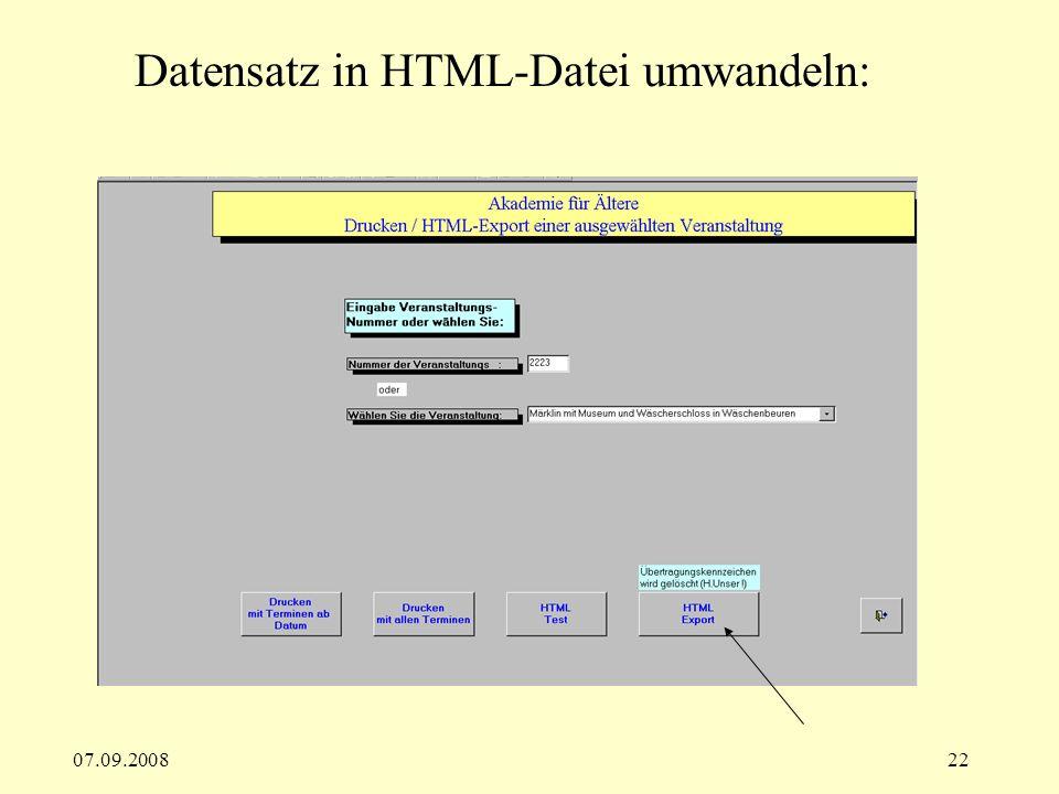07.09.200822 Datensatz in HTML-Datei umwandeln: