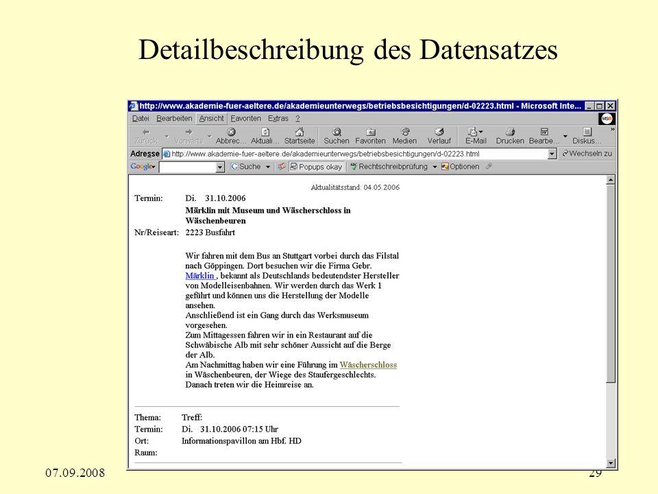 07.09.200829 Detailbeschreibung des Datensatzes
