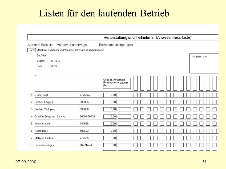 07.09.200831 Listen für den laufenden Betrieb