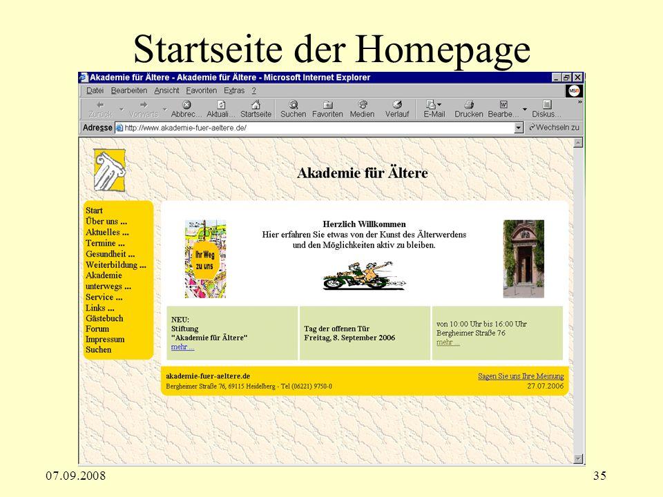07.09.200835 Startseite der Homepage