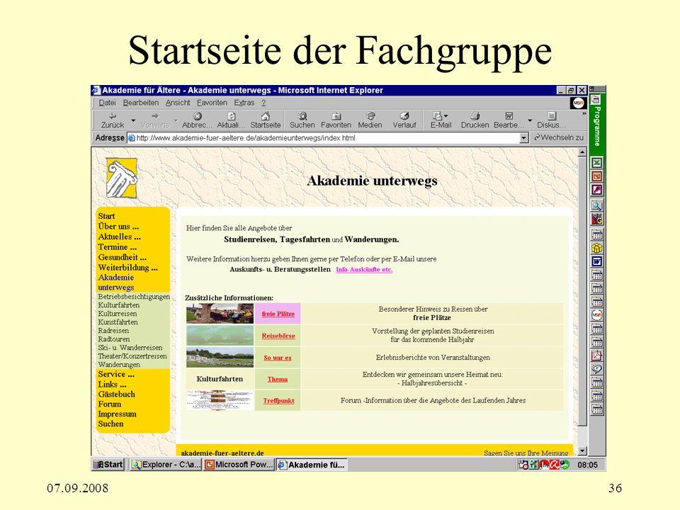 07.09.200836 Startseite der Fachgruppe