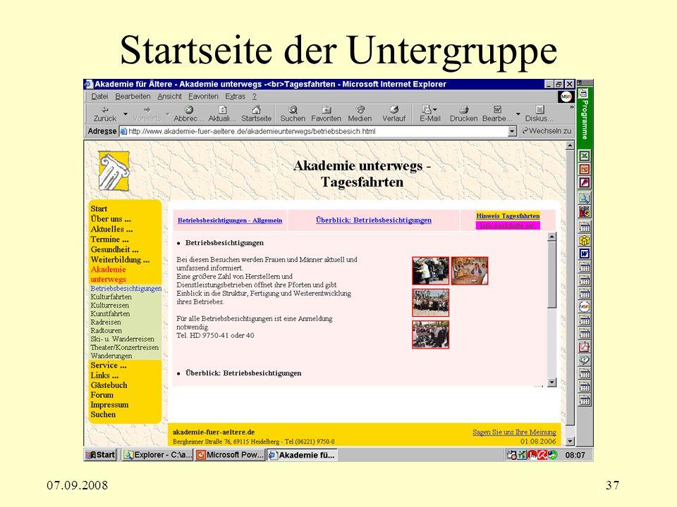 07.09.200837 Startseite der Untergruppe