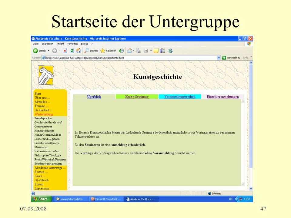 07.09.200847 Startseite der Untergruppe