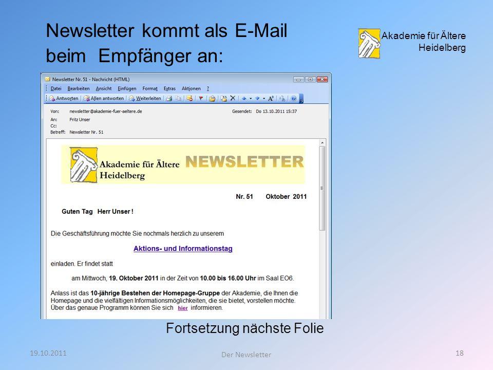 19.10.201117 Der Newsletter 9: Zusammenfassung Akademie für Ältere Heidelberg