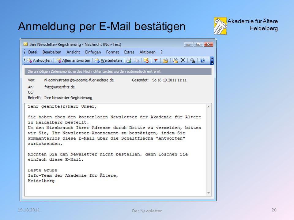 19.10.201125 Der Newsletter Akademie für Ältere Heidelberg Anmeldung erfolgreich