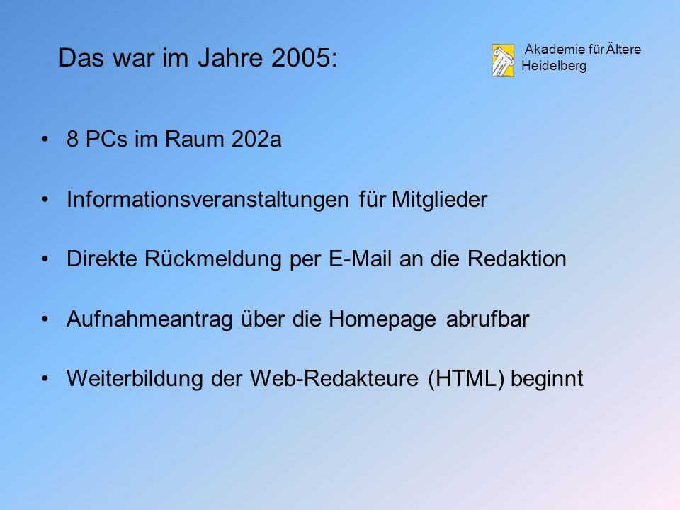 Akademie für Ältere Heidelberg Das war im Jahre 2005: 8 PCs im Raum 202a Informationsveranstaltungen für Mitglieder Direkte Rückmeldung per E-Mail an die Redaktion Aufnahmeantrag über die Homepage abrufbar Weiterbildung der Web-Redakteure (HTML) beginnt