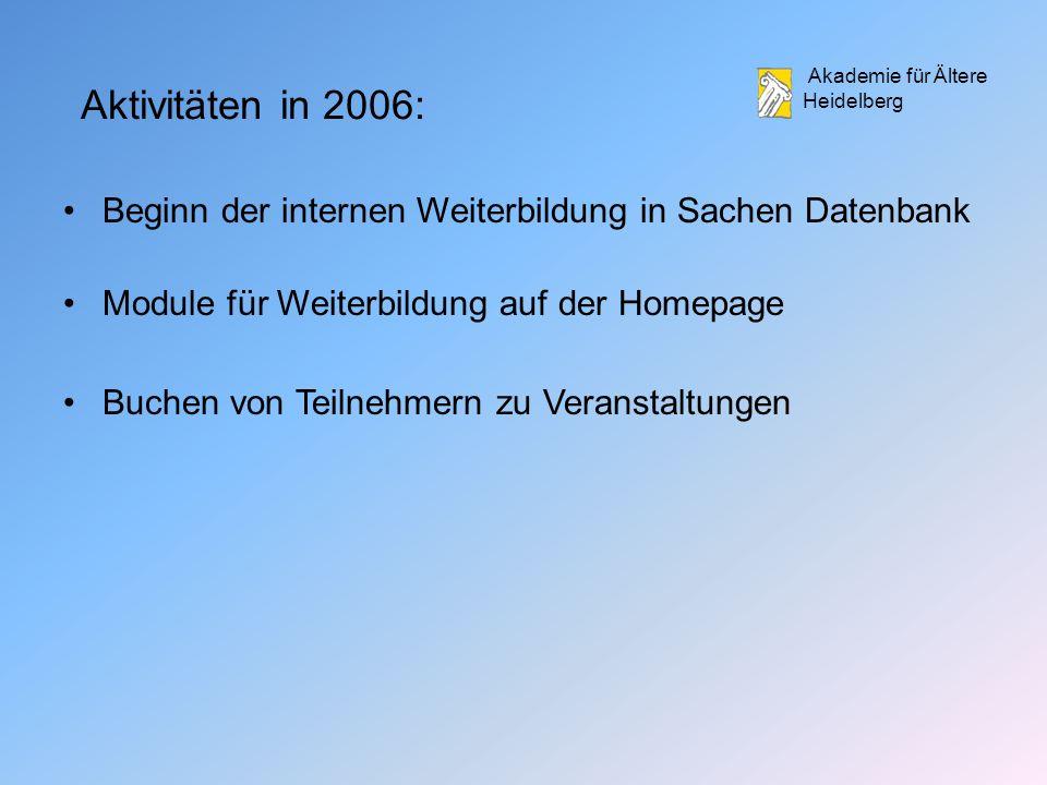 Akademie für Ältere Heidelberg Aktivitäten in 2006: Beginn der internen Weiterbildung in Sachen Datenbank Module für Weiterbildung auf der Homepage Buchen von Teilnehmern zu Veranstaltungen