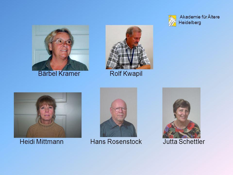 Akademie für Ältere Heidelberg Bärbel KramerRolf Kwapil Heidi MittmannHans RosenstockJutta Schettler