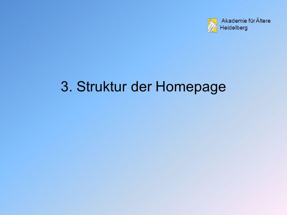 Akademie für Ältere Heidelberg 3. Struktur der Homepage