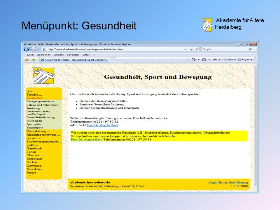 Akademie für Ältere Heidelberg Menüpunkt: Gesundheit
