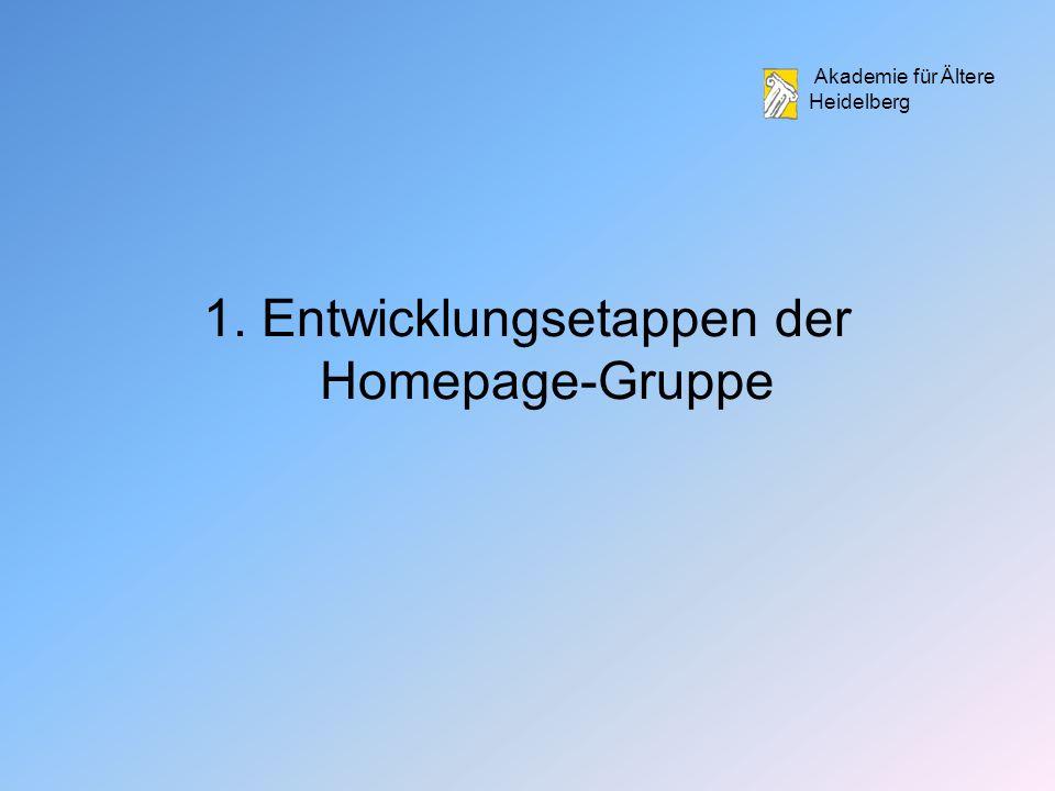 Akademie für Ältere Heidelberg 1. Entwicklungsetappen der Homepage-Gruppe