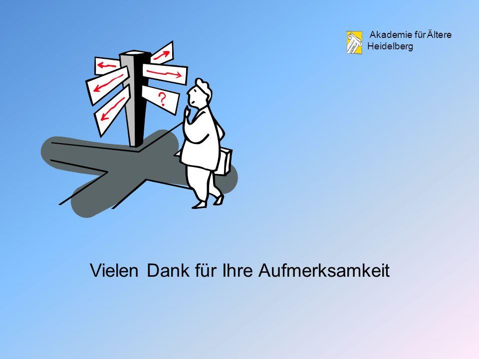 Akademie für Ältere Heidelberg Vielen Dank für Ihre Aufmerksamkeit