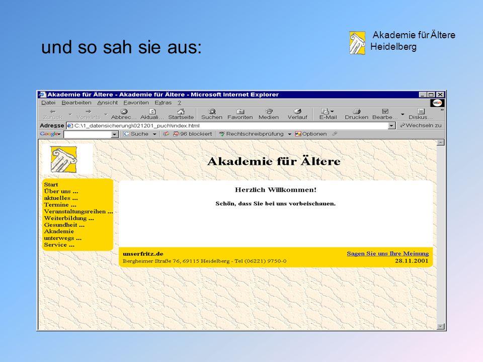 Akademie für Ältere Heidelberg und so sah sie aus: