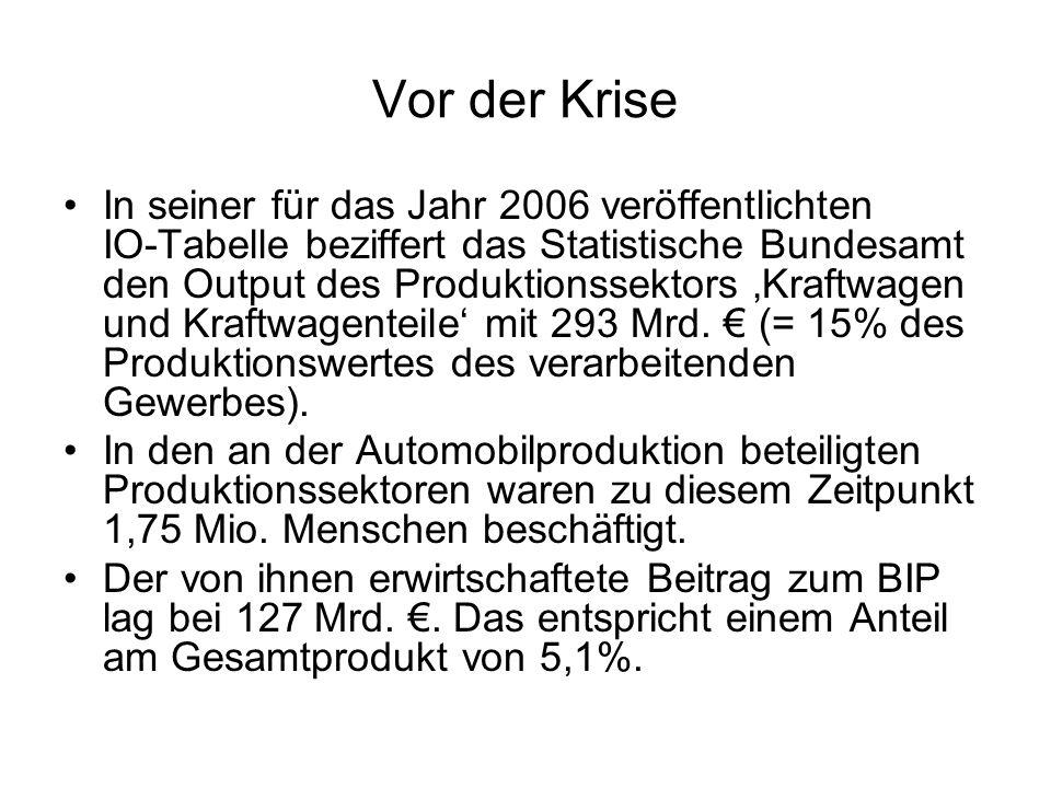 Vor der Krise In seiner für das Jahr 2006 veröffentlichten IO-Tabelle beziffert das Statistische Bundesamt den Output des Produktionssektors Kraftwage