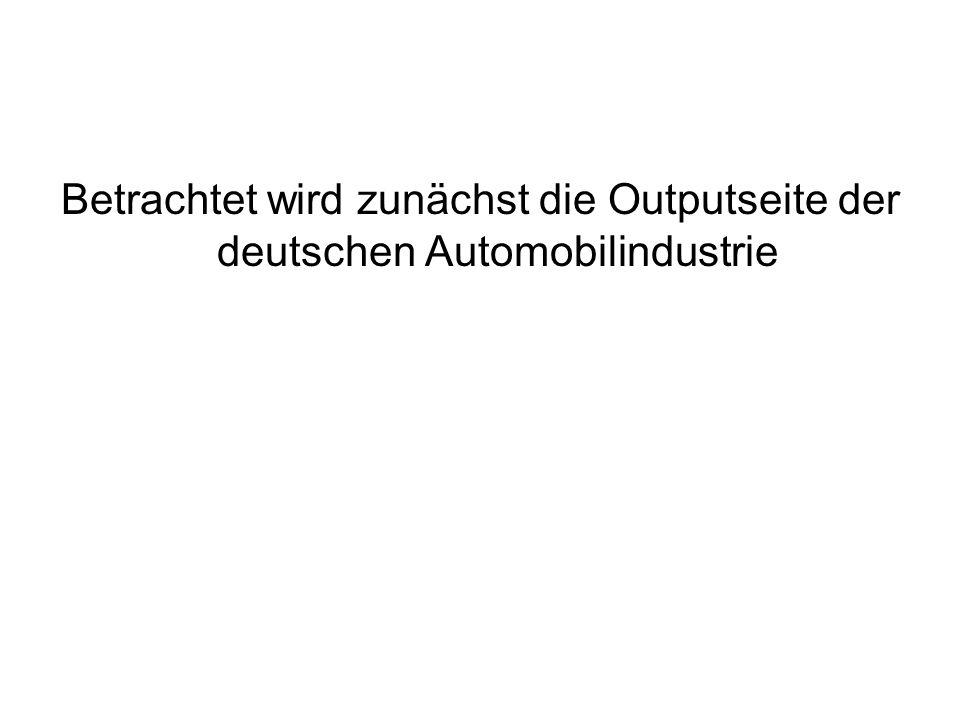 Betrachtet wird zunächst die Outputseite der deutschen Automobilindustrie