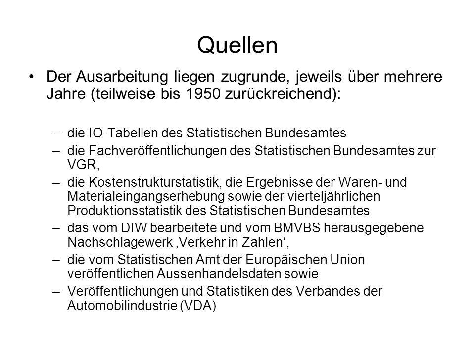Quellen Der Ausarbeitung liegen zugrunde, jeweils über mehrere Jahre (teilweise bis 1950 zurückreichend): –die IO-Tabellen des Statistischen Bundesamt
