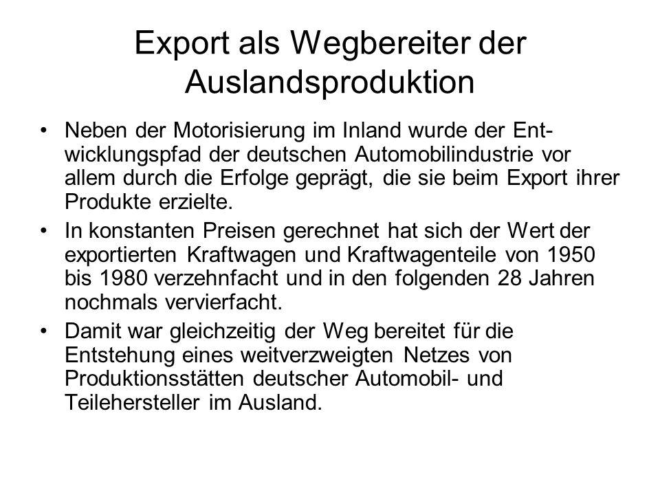 Export als Wegbereiter der Auslandsproduktion Neben der Motorisierung im Inland wurde der Ent- wicklungspfad der deutschen Automobilindustrie vor alle
