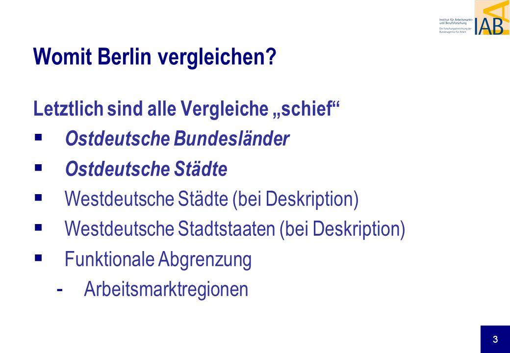 3 Womit Berlin vergleichen? Letztlich sind alle Vergleiche schief Ostdeutsche Bundesländer Ostdeutsche Städte Westdeutsche Städte (bei Deskription) We