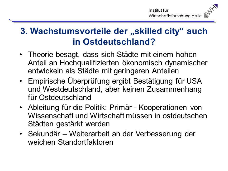 Institut für Wirtschaftsforschung Halle 3. Wachstumsvorteile der skilled city auch in Ostdeutschland? Theorie besagt, dass sich Städte mit einem hohen
