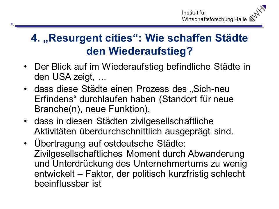 Institut für Wirtschaftsforschung Halle 4. Resurgent cities: Wie schaffen Städte den Wiederaufstieg? Der Blick auf im Wiederaufstieg befindliche Städt