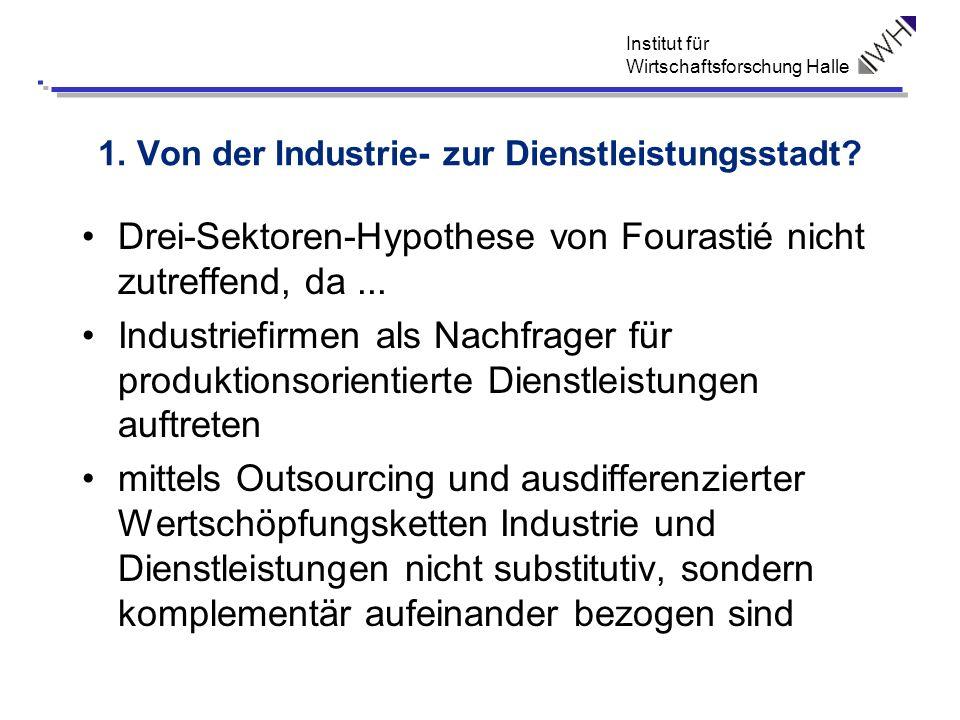 Institut für Wirtschaftsforschung Halle 1. Von der Industrie- zur Dienstleistungsstadt? Drei-Sektoren-Hypothese von Fourastié nicht zutreffend, da...