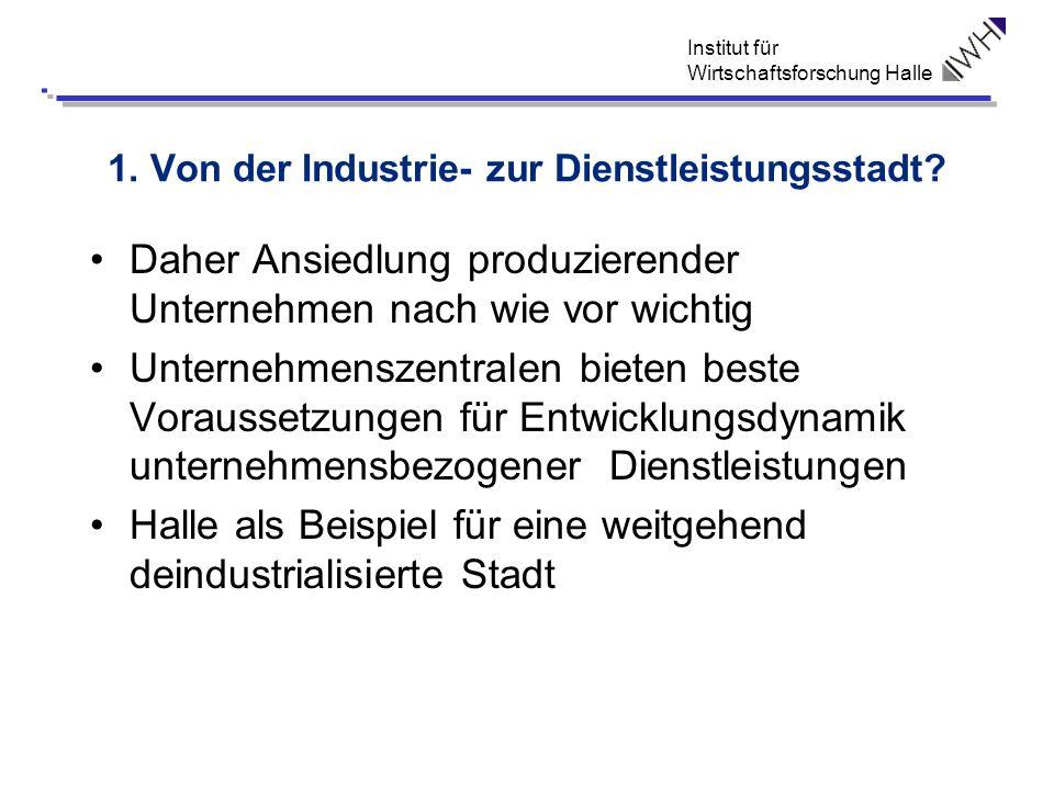 Institut für Wirtschaftsforschung Halle 1. Von der Industrie- zur Dienstleistungsstadt? Daher Ansiedlung produzierender Unternehmen nach wie vor wicht