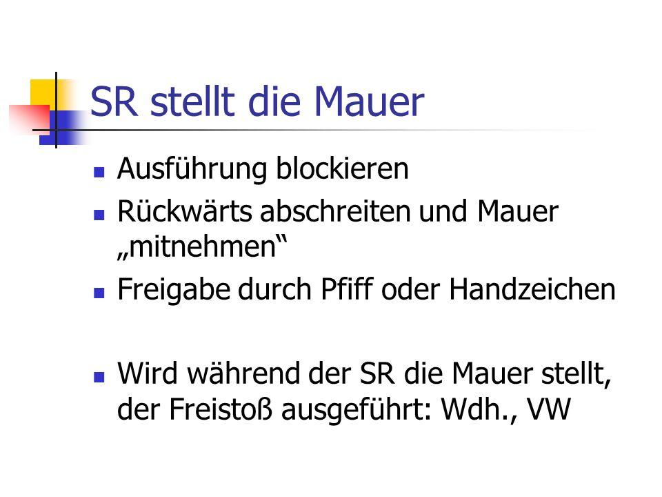 SR stellt die Mauer Ausführung blockieren Rückwärts abschreiten und Mauer mitnehmen Freigabe durch Pfiff oder Handzeichen Wird während der SR die Mauer stellt, der Freistoß ausgeführt: Wdh., VW