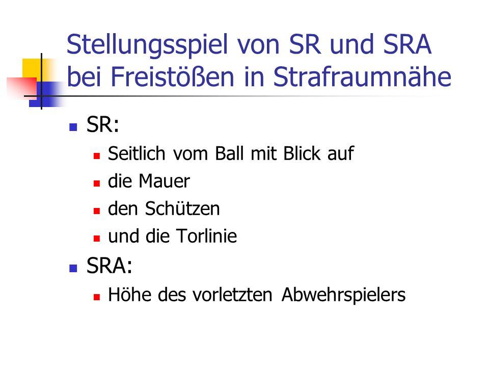 Stellungsspiel von SR und SRA bei Freistößen in Strafraumnähe SR: Seitlich vom Ball mit Blick auf die Mauer den Schützen und die Torlinie SRA: Höhe des vorletzten Abwehrspielers