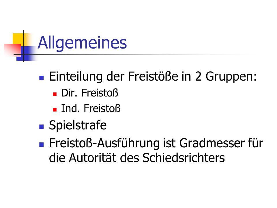 Allgemeines Einteilung der Freistöße in 2 Gruppen: Dir.