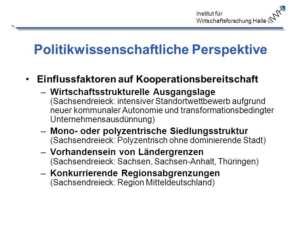 Institut für Wirtschaftsforschung Halle Politikwissenschaftliche Perspektive Einflussfaktoren auf Kooperationsbereitschaft –Wirtschaftsstrukturelle Au