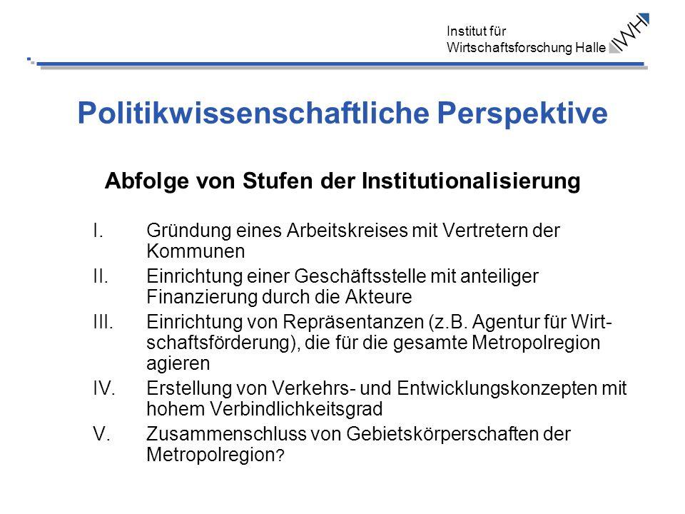 Politikwissenschaftliche Perspektive Abfolge von Stufen der Institutionalisierung I.Gründung eines Arbeitskreises mit Vertretern der Kommunen II.Einri