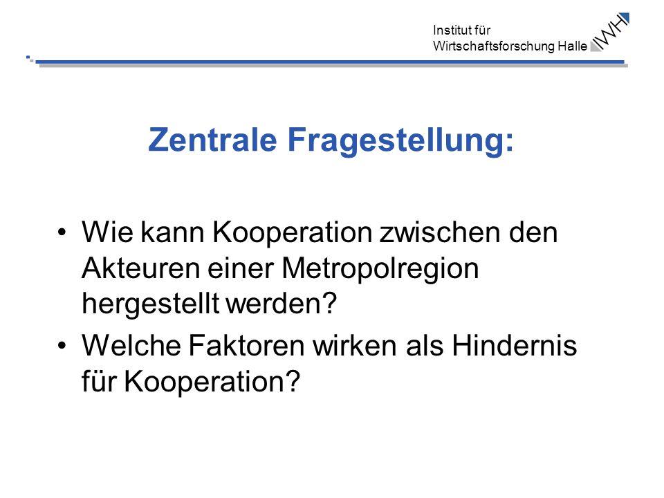 Institut für Wirtschaftsforschung Halle Zentrale Fragestellung: Wie kann Kooperation zwischen den Akteuren einer Metropolregion hergestellt werden? We