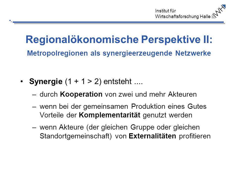 Institut für Wirtschaftsforschung Halle Regionalökonomische Perspektive II: Metropolregionen als synergieerzeugende Netzwerke Synergie (1 + 1 > 2) ent