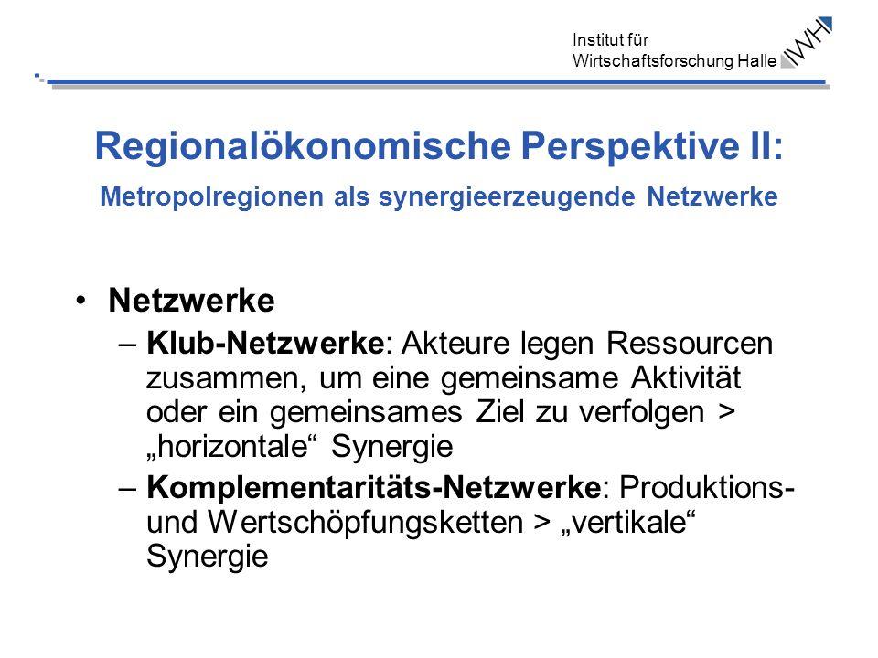 Institut für Wirtschaftsforschung Halle Regionalökonomische Perspektive II: Metropolregionen als synergieerzeugende Netzwerke Netzwerke –Klub-Netzwerk