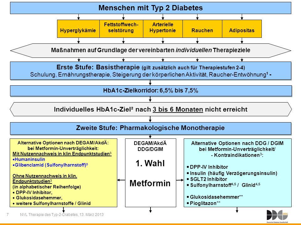 7 NVL Therapie des Typ-2-Diabetes, 13. März 2013 Menschen mit Typ 2 Diabetes Individuelles HbA1c-Ziel² nach 3 bis 6 Monaten nicht erreicht Erste Stufe