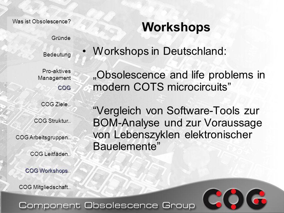 Workshops Was ist Obsolescence. Gründe Bedeutung Pro-aktives ManagementCOG COG Ziele..