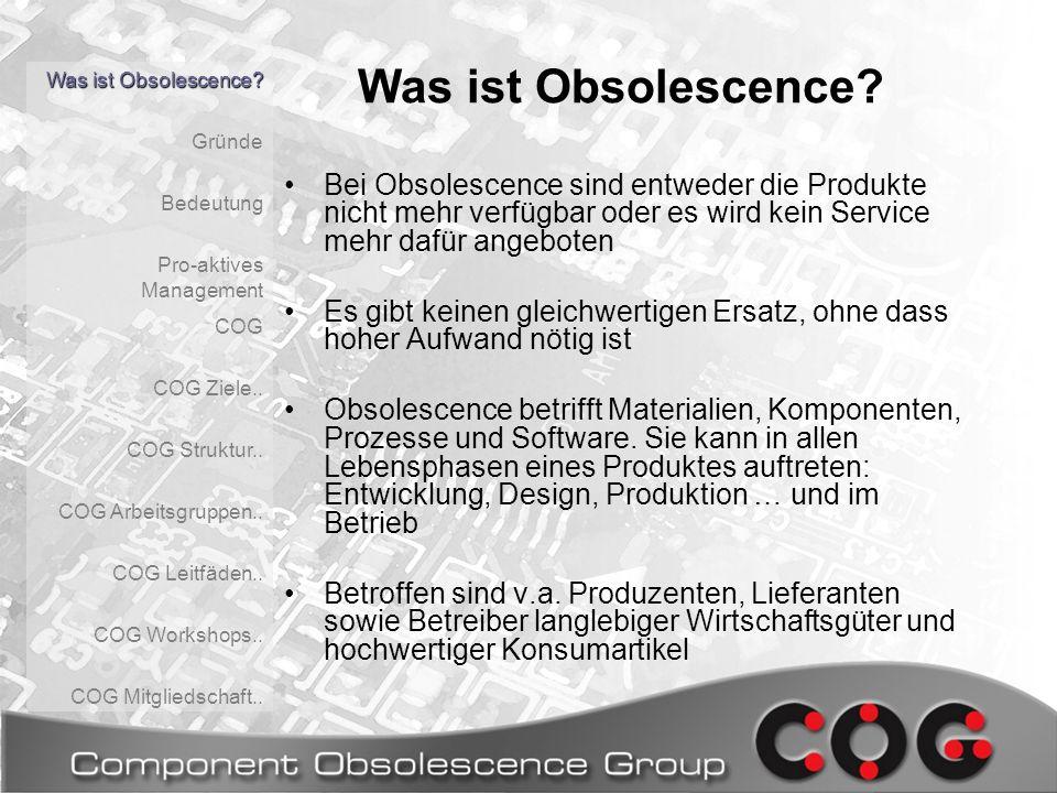 1.Lagermethoden 2.Zuverlässigkeit 3.Kostenvergleich 4.Einfluss neuer Technologien auf die Lagerbarkeit 5.… COG Deutschland: AG Obsoleszenz- Schwerpunkte Was ist Obsolescence.