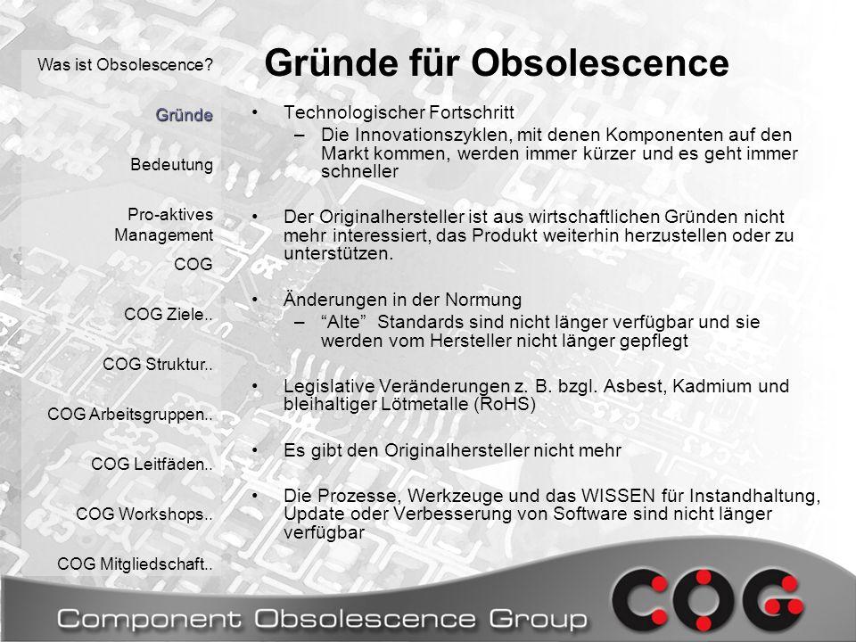 Leitfäden Was ist Obsolescence.Gründe Bedeutung Pro-aktives Management COG COG Ziele..