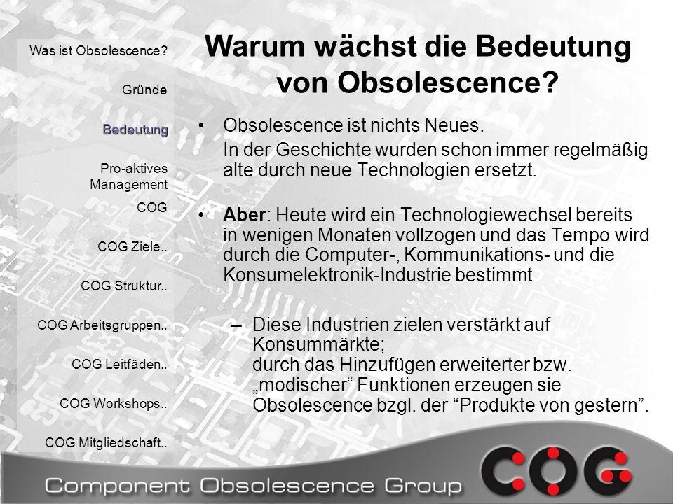 Was ist Obsolescence.Gründe Bedeutung Pro-aktives Management COG COG Ziele..