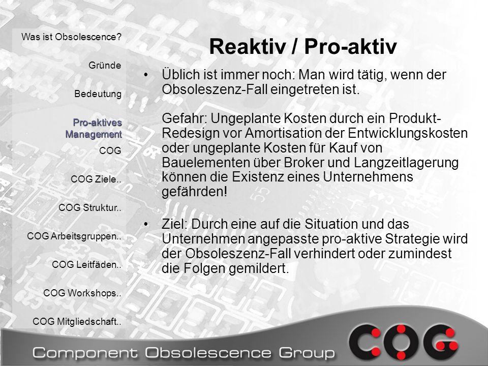Workshops Was ist Obsolescence.Gründe Bedeutung Pro-aktives ManagementCOG COG Ziele..