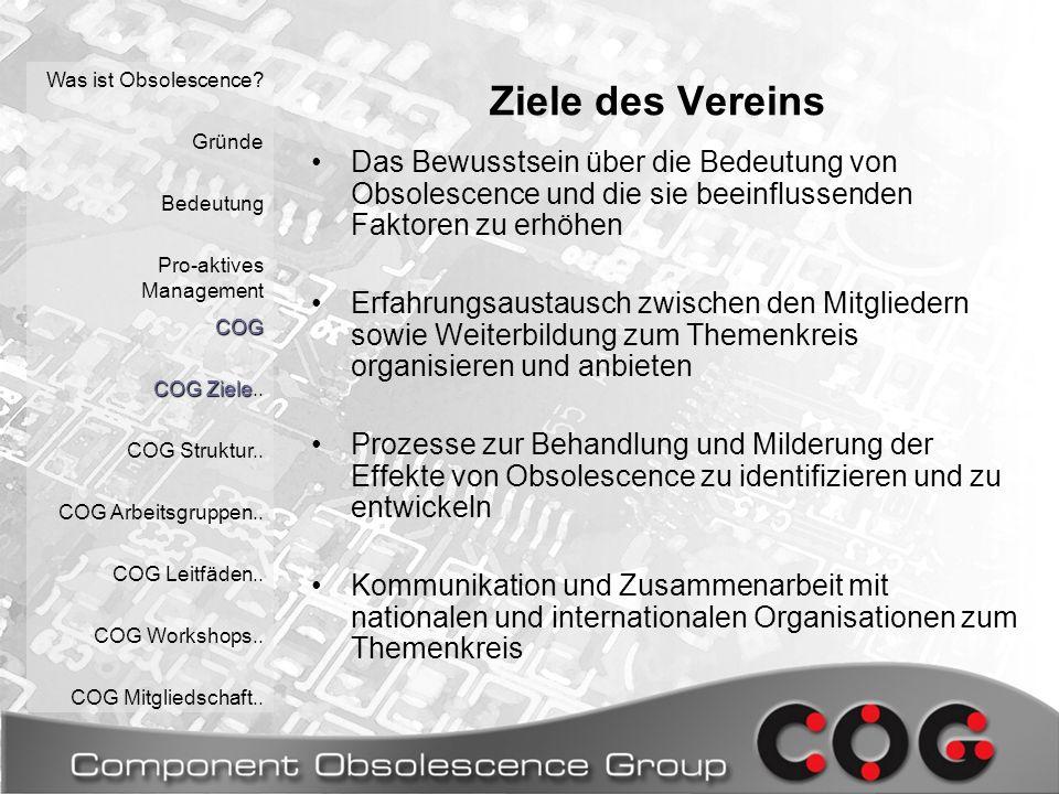 COG Deutschland e.V.Vorstand: COG Deutschland: Organisationsstruktur Was ist Obsolescence.