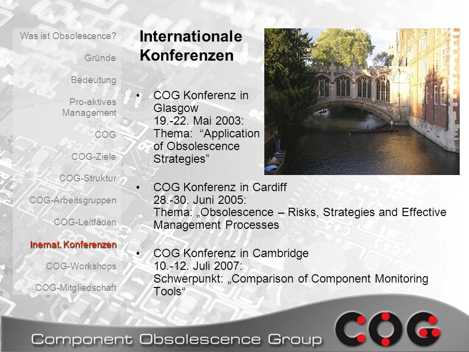 COG Konferenz in Glasgow 19.-22.