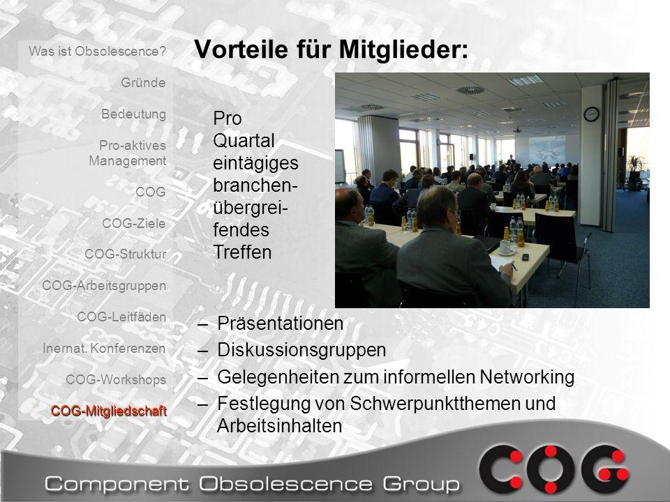 Vorteile für Mitglieder: –Präsentationen –Diskussionsgruppen –Gelegenheiten zum informellen Networking –Festlegung von Schwerpunktthemen und Arbeitsin