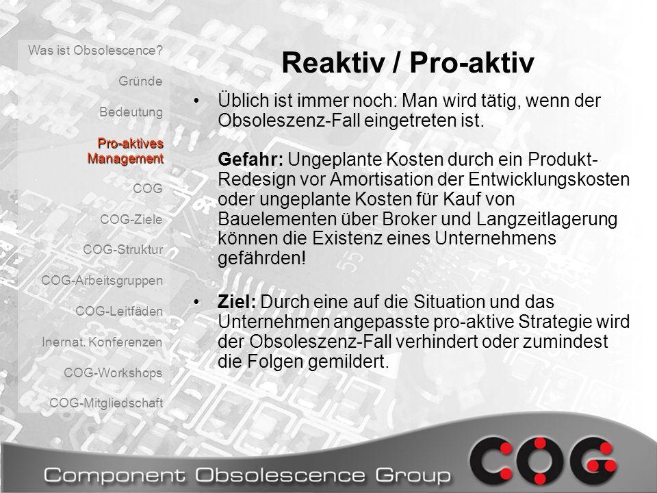 Component Obsolescence Group Erstmals fanden sich 1997 Betroffene in Großbritanien zusammen und gründeten die COG- UK.