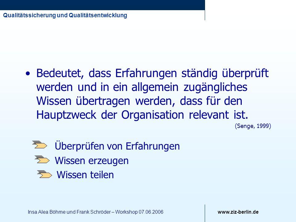 Qualitätssicherung und Qualitätsentwicklung www.ziz-berlin.de Insa Alea Böhme und Frank Schröder – Workshop 07.06.2006 Bedeutet, dass Erfahrungen stän