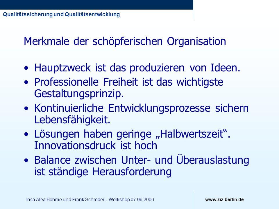 Qualitätssicherung und Qualitätsentwicklung www.ziz-berlin.de Insa Alea Böhme und Frank Schröder – Workshop 07.06.2006 Merkmale der schöpferischen Org